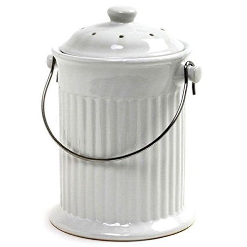 White Ceramic Compost Keeper - Compostio
