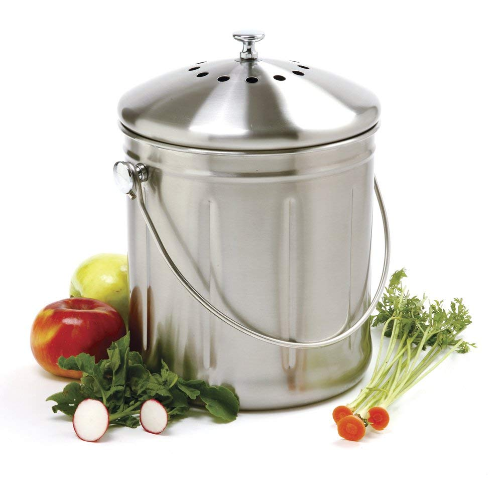 1.5 Gallon Stainless Steel Compost Keeper - Compostio