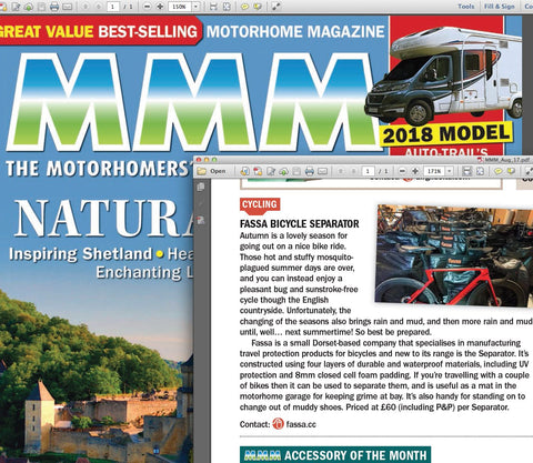 MMM; Motorhome Monthly Magazine and Fassa Cycling Products. Fassa Separator
