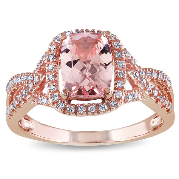 MORGANITE AND DIAMONDS SET IN ROSE GOLD ENGAGEMENT RING