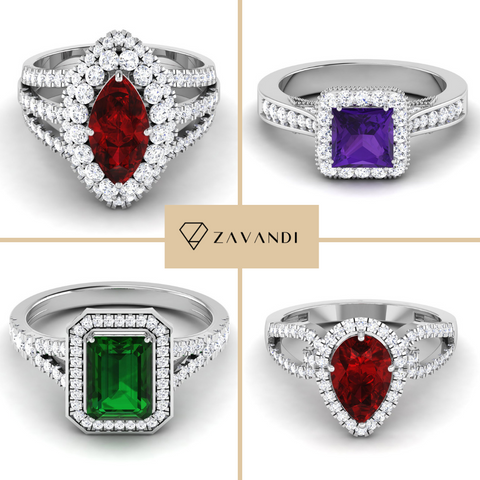 month birthstone rings with gemstone