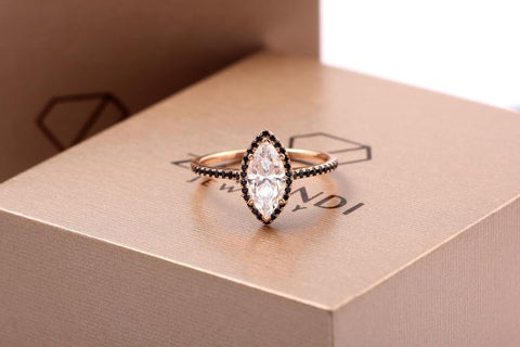 rose gold and black ring zavandi
