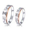0.095CT TDW ROUND CUT DIAMOND PLATINUM 18K WHITE GOLD MATCHING COUPLE RINGS 1