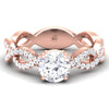 1.1ct round cut cz diamond 18k rose gold bridal set