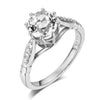 1.2ct round cut clear topaz 0.1ct natural diamonds 14k white gold engagement ring SIDE