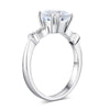 2ct round cut topaz 0.07 natural diamond accents 14k white gold engagement ring top