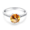 2ct round cut yellow citrine 0.12ct natural diamonds 14k white gold engagement ring