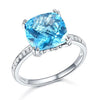 4.5ct cushion cut swiss blue topaz 0.1ct natural diamond accents 14k white gold engagement ring slant