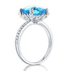 4.5ct cushion cut swiss blue topaz 0.1ct natural diamond accents 14k white gold engagement ring side