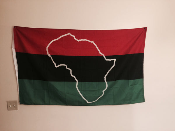3'x5' Africa outine flag map, african american, pan-african black heritage