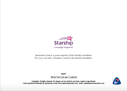 Back of Christmas Cards with Starship Foundation Logo