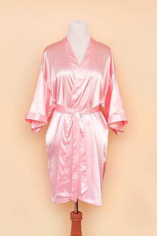 Pink satin robe on bodyform
