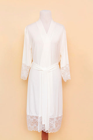 White lace robe on bodyform