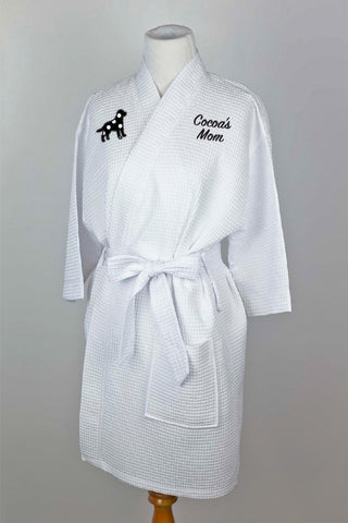 White waffle robe with large-breed dog in applique with name/title on opposite side