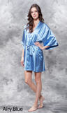 Airy blue satin robe.
