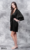 Black satin robe.