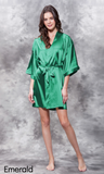 Emerald green satin robe.
