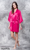 Hot pink satin robe.