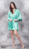 Mint green satin robe.