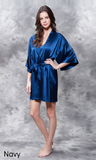 Navy blue satin robe.