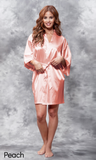 Peach satin robe.