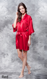 Bright red satin robe.