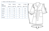 Shown is the size chart measurements for the youth micro fleece super soft robe from Bloom Custom Robes.