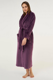 Royal purple ladies' cut microfleece plush robe.