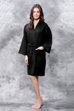 Black knee-length waffle fabric robe.