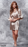 Taupe colored satin robe.