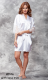 White Satin Robe with Lace Trim.