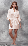 White peach satin robe.