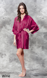 Wine red satin robe.
