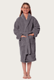 Gray youth microfleece plush robe.