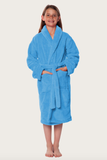 Light blue youth microfleece plush robe.