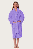 Light purple youth microfleece plush robe.