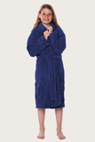 Navy youth microfleece plush robe.