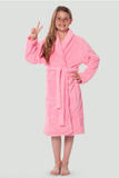 Light pink youth microfleece plush robe.