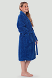 Royal blue youth microfleece plush robe.