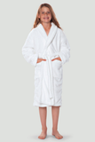 White youth microfleece plush robe.