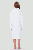 Back view of a white youth microfleece plush robe.