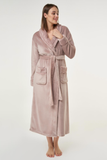 Blush/dusty pink ladies' cut microfleece plush robe.