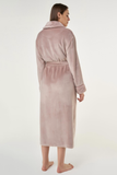 Back view of a blush/dusty pink ladies' cut microfleece plush robe.