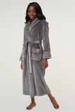 Gray ladies' cut microfleece plush robe.