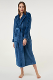 Royal blue ladies' cut microfleece plush robe.