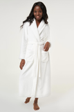 White ladies' cut microfleece plush robe.