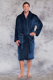 Microfleece robe in navy.