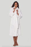Microfleece robe in white.