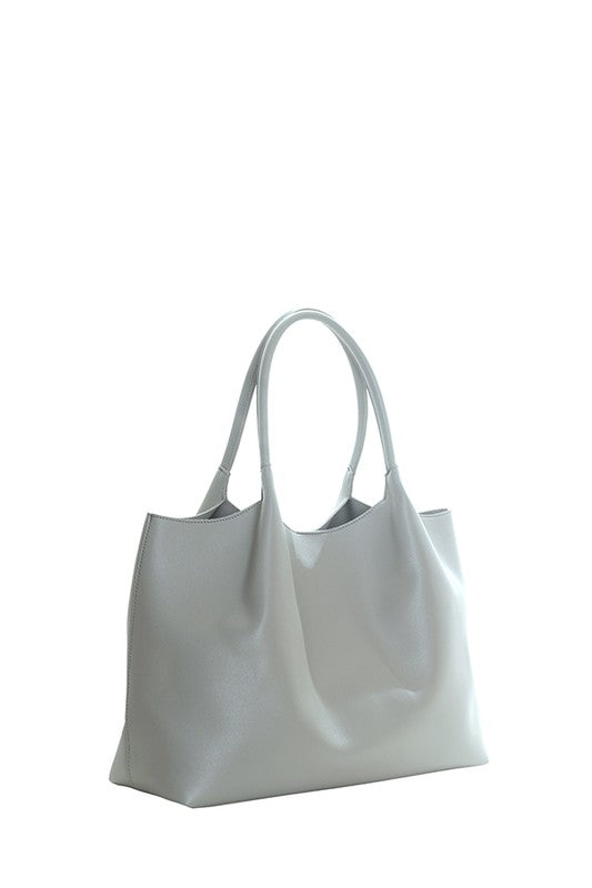Faux leather gray tote bag with makeup bag