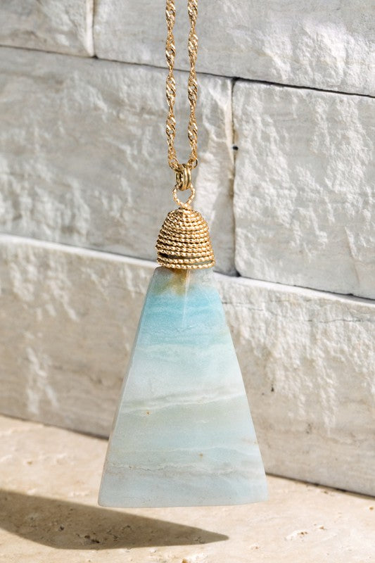NATURAL STONE PENDANT NECKLACE (AMAZONITE)